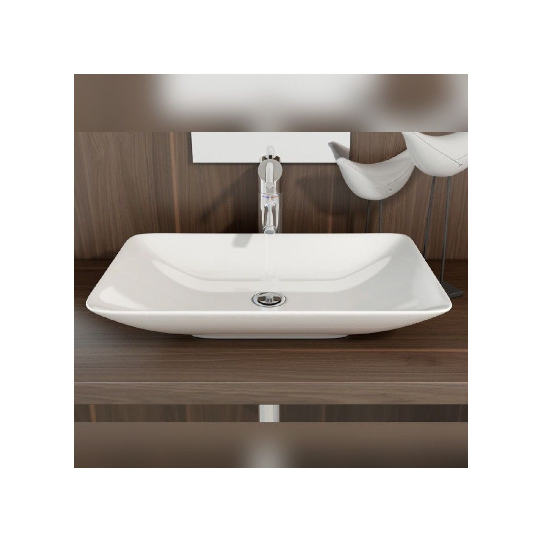 Lavabo cer mica sobre encimera nova the bath - Lavabo sobre encimera ...