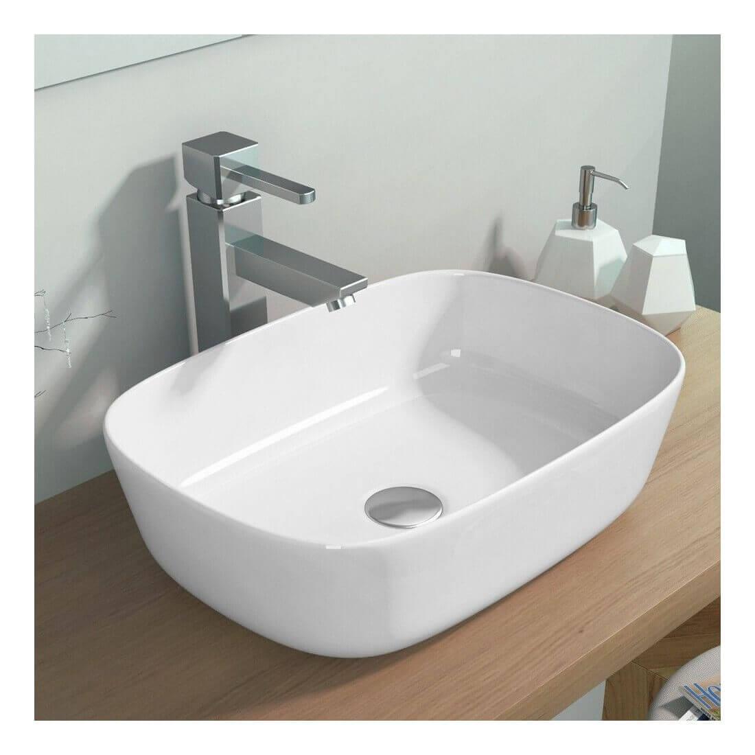 Comprar lavabo cer mica extra fino sobre encimera abby - Encimera para lavabo ...