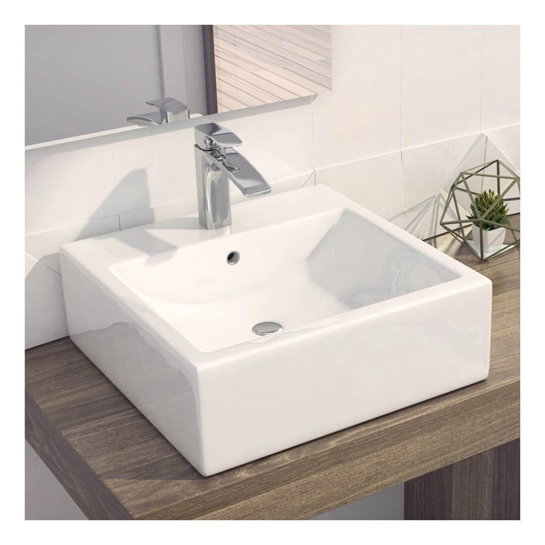 Encimeras de lavabo fabulous encimera de lavabo de madera for Lavabo bajo encimera rectangular