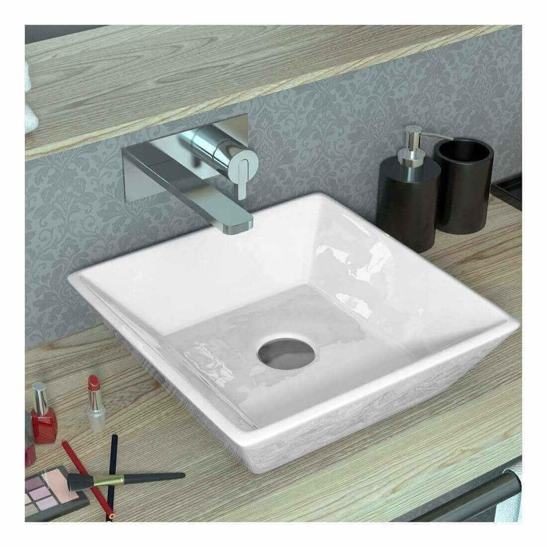 simple lavabo para bao sobre encimera flat with encimeras de marmol para lavabos