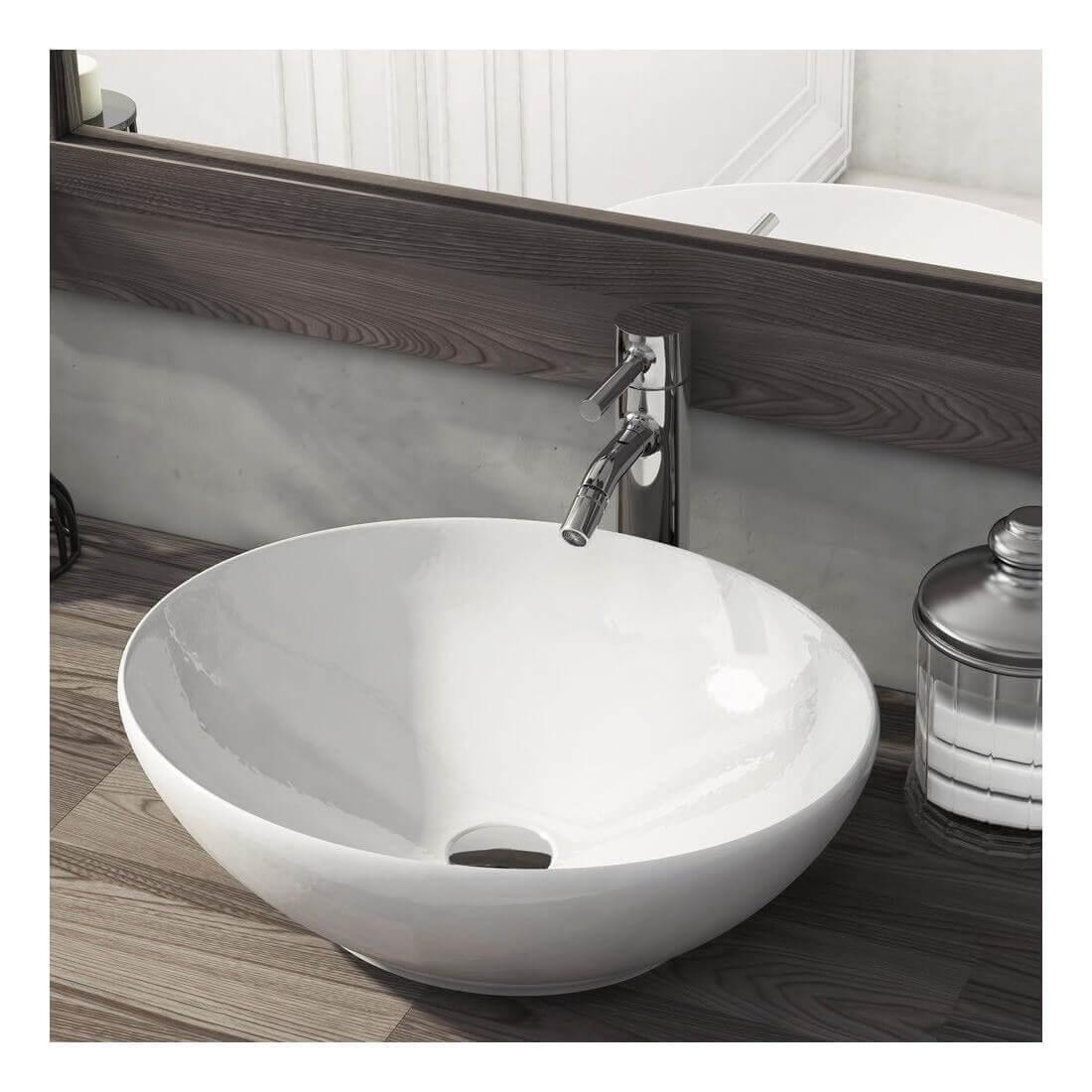 Lavabo cerámica sobre encimera Oval