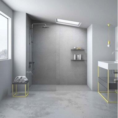 Plato de ducha resina textura pizarra Cemento