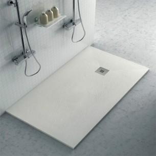 Plato ducha resina con textura pizarra blanco roto