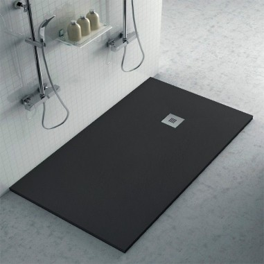 Plato ducha resina con textura pizarra negro