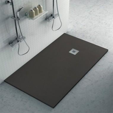 Plato ducha resina con textura pizarra cemento