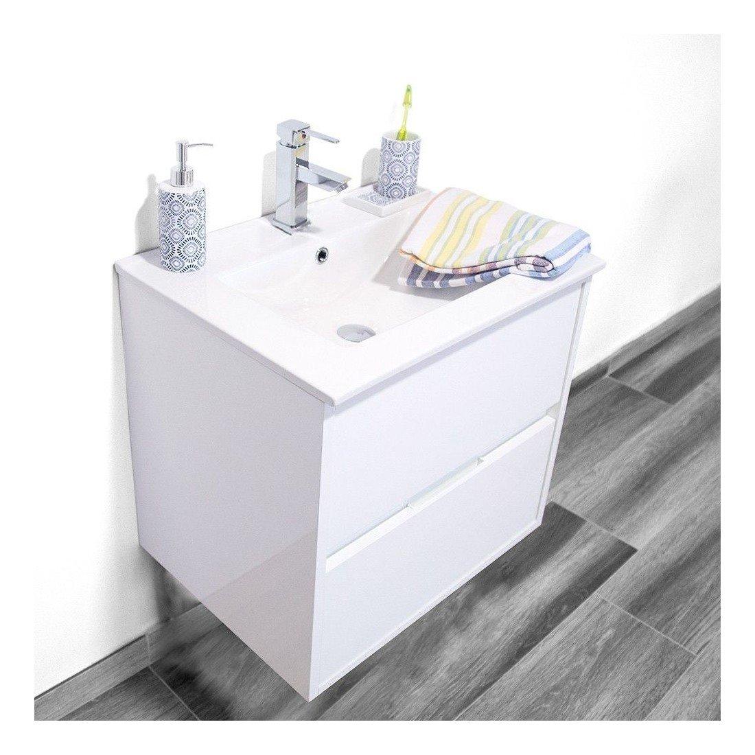 Mueble de ba o noha lacado con lavabo sobre mueble for Oferta mueble lavabo