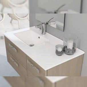 Lavatório de cerâmica seio deslocado sobre móveis