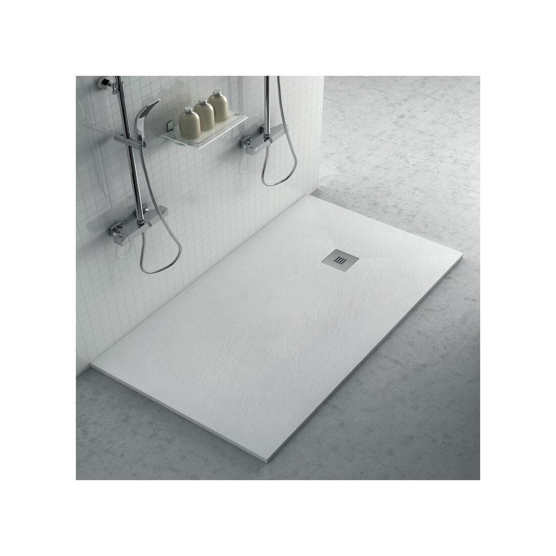 Plato ducha resina con textura pizarra blanco