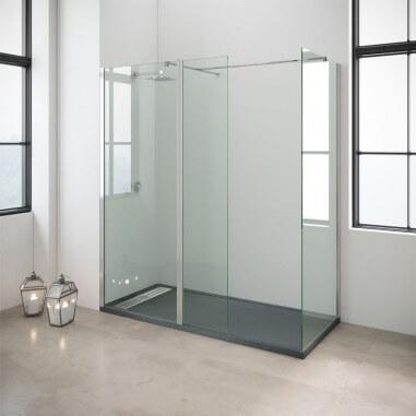 Mampara de ducha fija con abatible