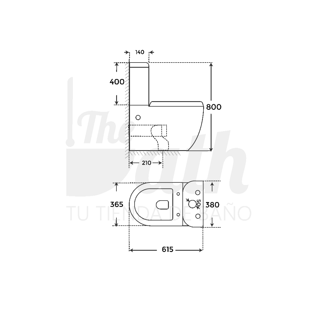 ▷ Inodoro Negro Verona Black -【Marca Fossil Natura】- TheBath