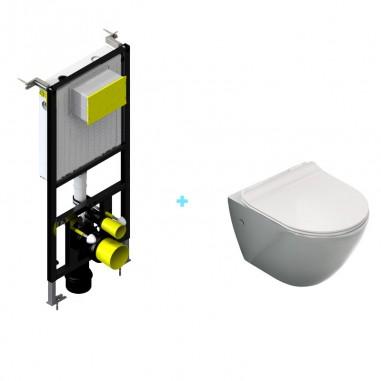 Pack cisterna empotrada + inodoro Mini Plata