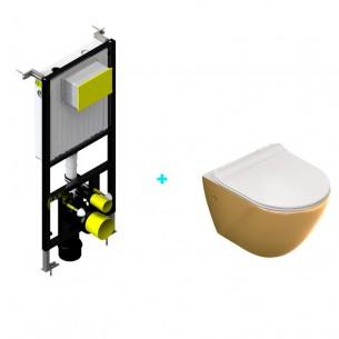 Pack cisterna empotrada + inodoro Mini Dorado