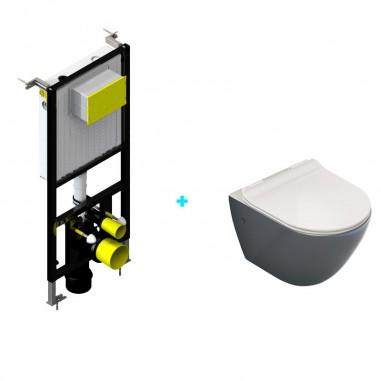 Pack cisterna empotrada + inodoro Mini Antracita