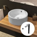 Pack lavabo redondo Round + grifo Flat caño alto