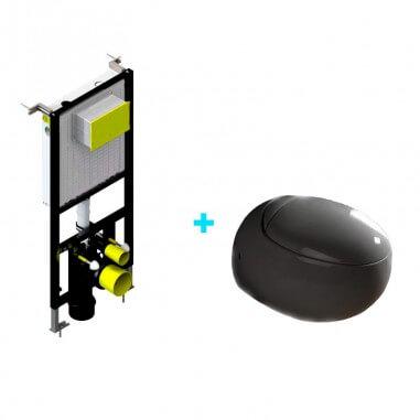 Pack inodoro Oval negro + Cisterna empotrada