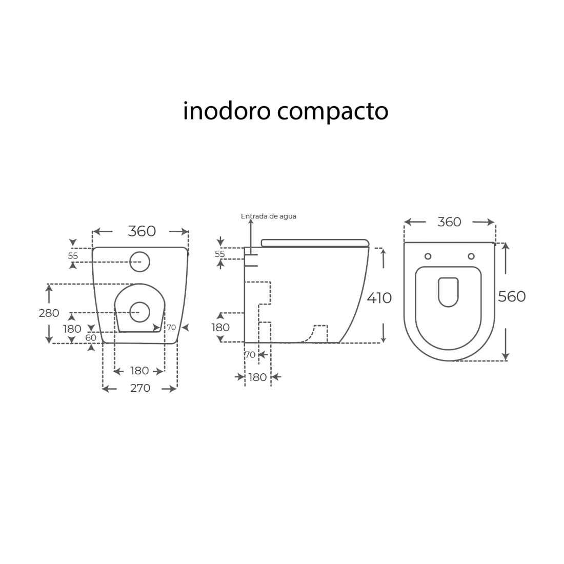 ▷ Inodoro compacto sin cisterna Verona de Fossil Natura